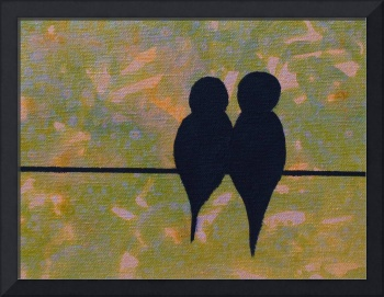 Birds on a Wire in Lime