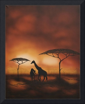 Giraffes at Twilight