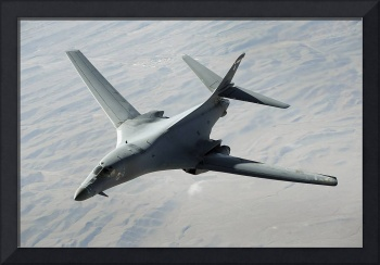 A US Air Force B1B Lancer on a combat patrol over