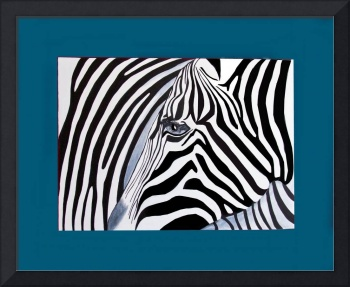 Zebra abstract on blue