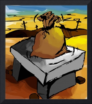 Digital painting of a sack on top of a seat made