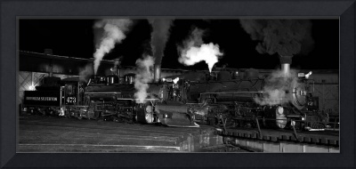 Steam Locomotives At Night Panorama (2)
