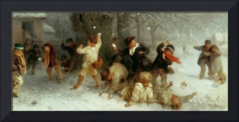 Snowballing, 1865 (oil on canvas)