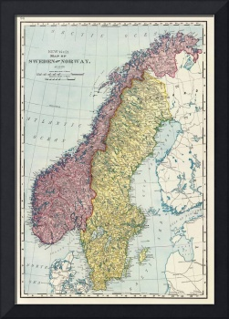 Vintage Map of Norway and Sweden (1895)