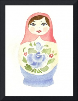 Russian Doll With Blue Flower