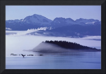 Alaska, Inside Passage, Chilkat Mountains With Fog