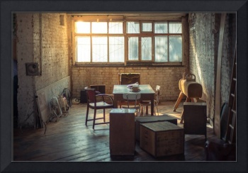 Retro Office Space With Books, Furniture And Sun F