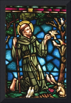 St Francis of Assisi in stained glass