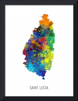 Saint Lucia Watercolor Map