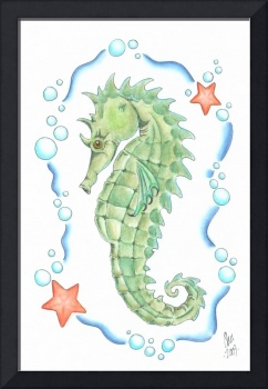 Seahorse in Green and Blue