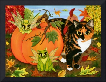 Calico's Mystical Pumpkin ; Autumn Fall Fairy Cats