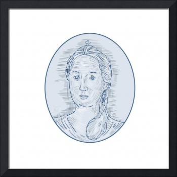 18th Century Russian Empress Bust Oval Drawing