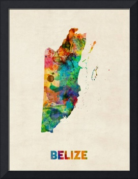 Belize Watercolor Map