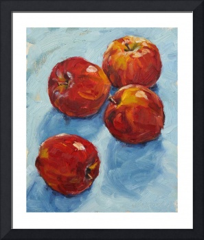 Apples on blue