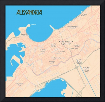Minimalist Modern Map of Downtown Alexandria, Egyp