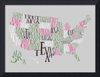 Hot Green US Typography Map