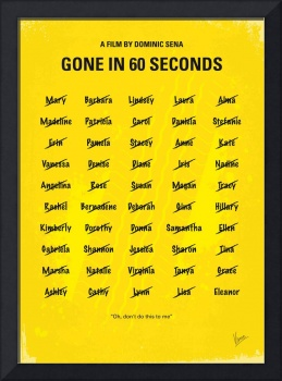 No032 My Gone In 60 Seconds minimal movie poster