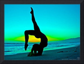 Yogi Woman Yoga Silhouette Inverted in Blue Sunset