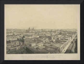 Vintage Pictorial Map of Mexico City (1845)