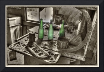 Old Stove and Bottles