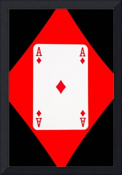 Playing Cards Ace of Diamonds on Black Background