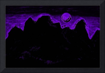Moon Glow Over The Cascades In Purple  2