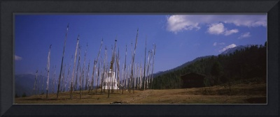 Stupa surrounded by prayer flags
