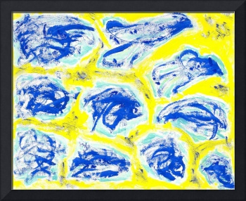 Blue Landscapes on Yellow Background