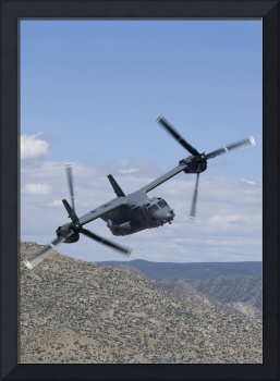 A CV-22 Osprey on a training mission over New Mexi