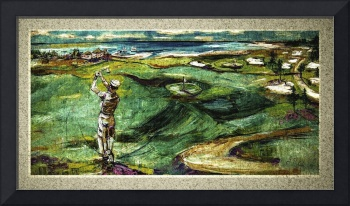 Golfing by the Sea Oil Painting