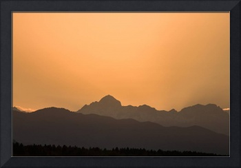 Sunset behind the Julian Alps