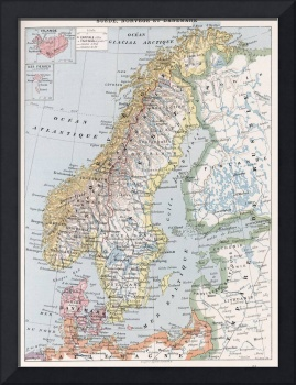 Vintage Map of Norway and Sweden (1900)