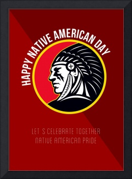 Native American Day Retro Poster Card