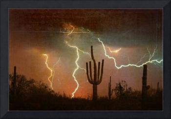 Arizona Saguaro Lightning Storm