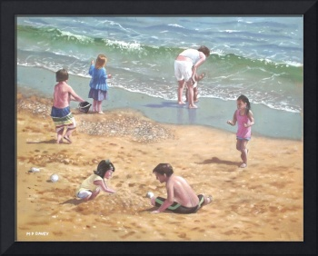 people on Bournemouth beach :kids and  sand