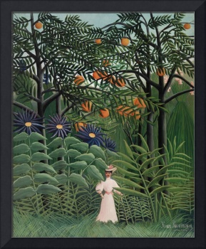 Woman Walking in an Exotic Forest by Rousseau