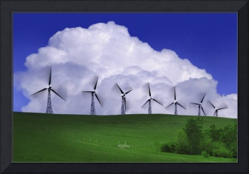 Wind Generators With Clouds In Background