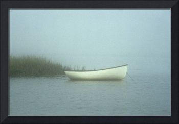 Rowboat on misty salt pond, Cape Cod
