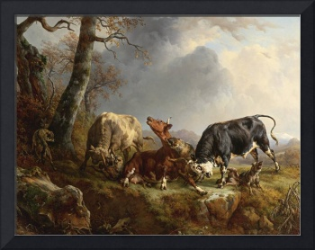 Jacques Raymond Brascassat - Two bulls defending a