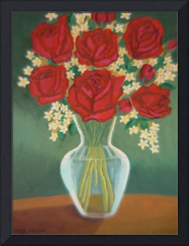 Red Roses in a Glass