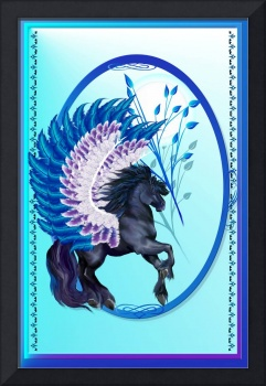 Blue Winged Pegasus Oval