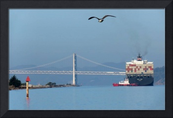 Container Ship and Bay Bridge
