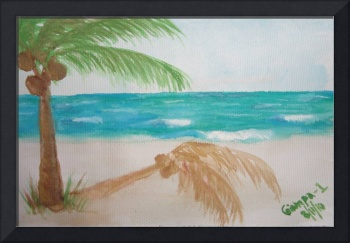 Palm tree by the ocean in watercolor