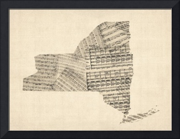 Old Sheet Music Map of New York State