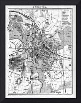 Vintage Map of Hanover Germany (1895) BW