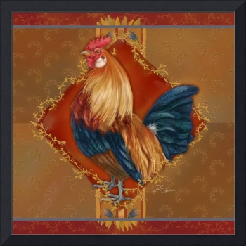 Rooster with Wheat I