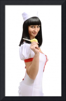 Smiling medical nurse with a colonic bulb