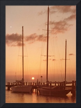 Florida Keys Sunset with Sail Boats Docked