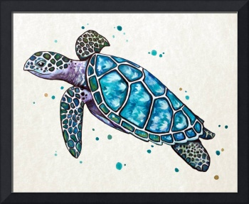Sea Turtle in Watercolor