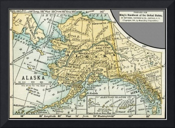 Alaska Antique Map 1891